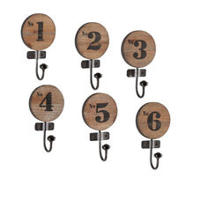 Decorative 6 Piece Distressed Wood and Weathered Iron Numbered Wall Hooks