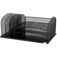 Onyx™ Three Horizontal and Three Upright Sections Mesh Desk Organizer - Black