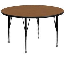 60'' Round Oak Thermal Laminate Activity Table - Height Adjustable Short Legs