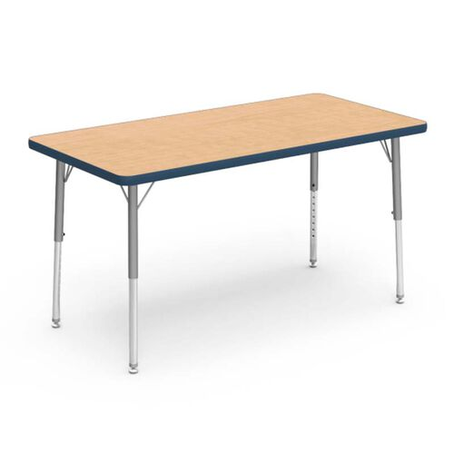 Our 4000 Series Adjustable Height Rectangular Laminate Activity Table with Fusion Maple Top, Navy Edge, and Silver Mist Legs - 24