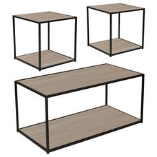 Midtown Collection 3 Piece Coffee and End Table Set in Sonoma Oak Wood Grain Finish and Black Metal Frames