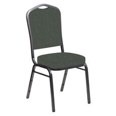 Embroidered Crown Back Banquet Chair in Venus Shadow Fabric - Silver Vein Frame