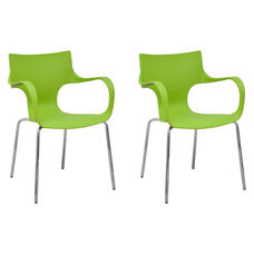 Phin Stackable Chair with Green Seat and Chromed Legs - Set of 2