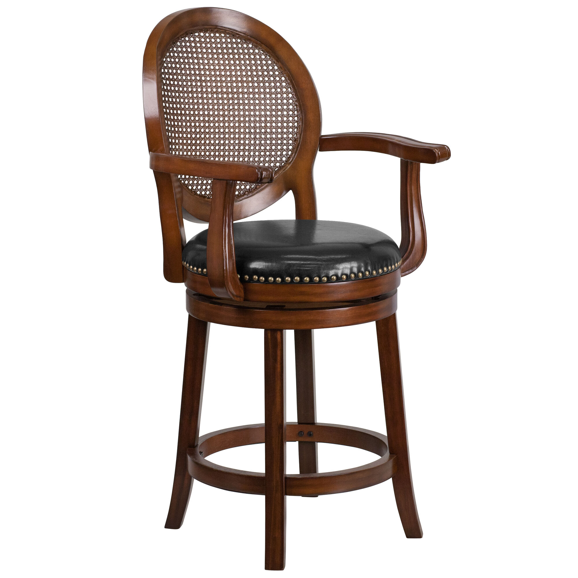 Wondrous 26 High Expresso Wood Counter Height Stool With Arms Woven Rattan Back And Black Leather Swivel Seat Evergreenethics Interior Chair Design Evergreenethicsorg