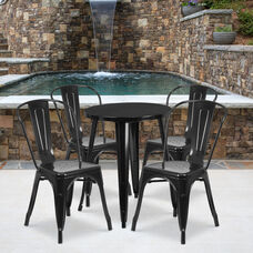 "Commercial Grade 24"" Round Black Metal Indoor-Outdoor Table Set with 4 Cafe Chairs"