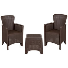 Chocolate Faux Rattan Plastic Chair Set with Matching Side Table