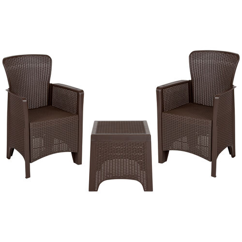 Our Chocolate Faux Rattan Plastic Chair Set with Matching Side Table is on sale now.