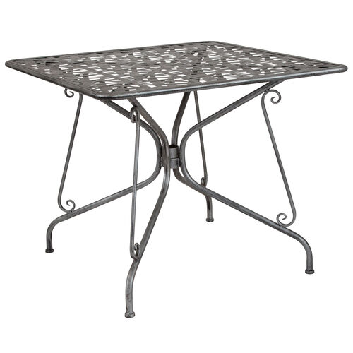 """Our Agostina Series 35.25"""" Square Antique Silver Indoor-Outdoor Steel Patio Table is on sale now."""
