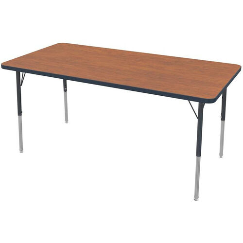 MG Series Kids Height Adjustable Rectangular Activity Table - Wild Cherry Top with Black Edge and Legs - 60