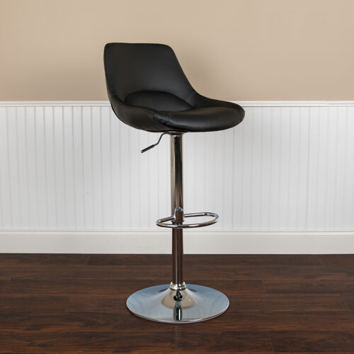 Our Contemporary Black Vinyl Adjustable Height Barstool with Chrome Base is on sale now.