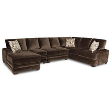 Barstow Transitional Style Polyester 4 Piece Sectional - Sharpei Chocolate