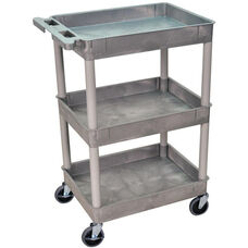 Heavy Duty Multi-Purpose Mobile Tub Utility Cart with 3 Tub Shelves - Gray - 24