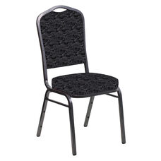 Embroidered Crown Back Banquet Chair in Perplex Ebony Fabric - Silver Vein Frame