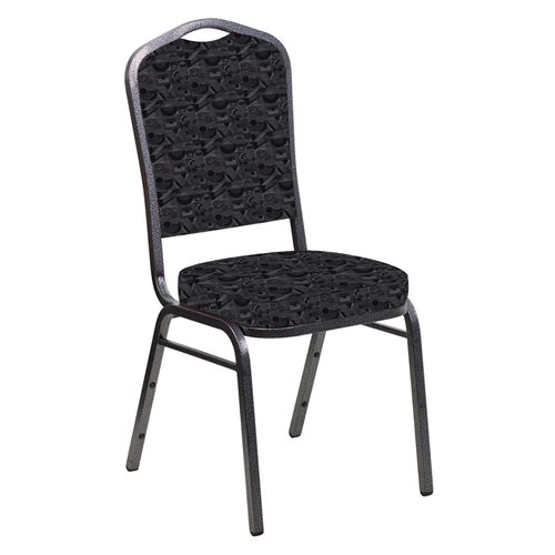 Our Embroidered Crown Back Banquet Chair in Perplex Ebony Fabric - Silver Vein Frame is on sale now.