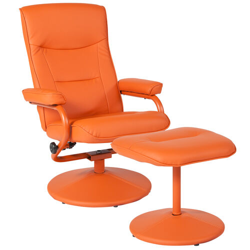 Our Chelsea Contemporary Multi-Position Recliner and Ottoman in Orange Vinyl is on sale now.