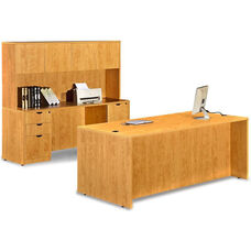 Honey Desk with Credenza and Hutch