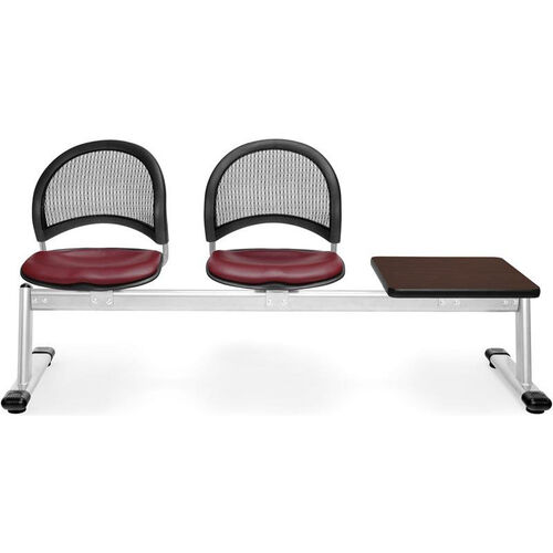 Our Moon 3-Beam Seating with 2 Wine Vinyl Seats and 1 Table - Mahogany Finish is on sale now.