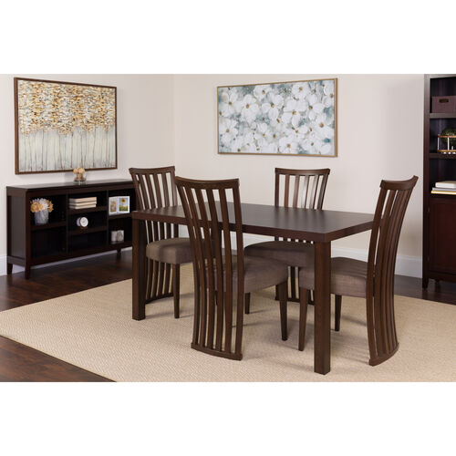 Our Addison 5 Piece Espresso Wood Dining Table Set with Dramatic Rail Back Design Wood Dining Chairs - Padded Seats is on sale now.