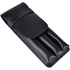 Three Slot Pen Case - Genuine Leather - Black
