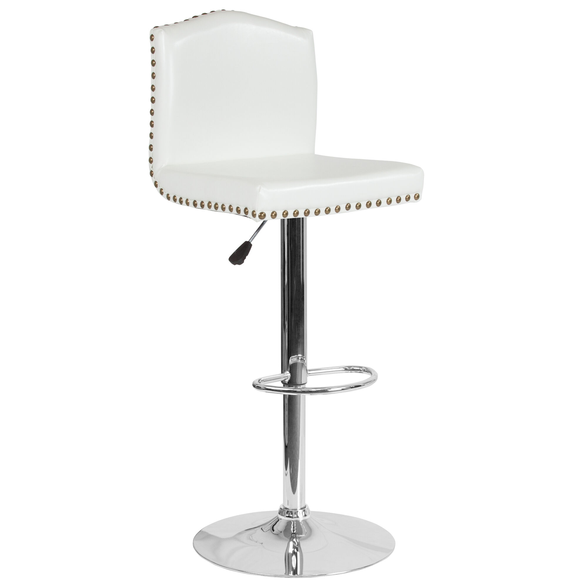 Amazing Bellagio Contemporary Adjustable Height Barstool With Accent Nail Trim In White Leather Onthecornerstone Fun Painted Chair Ideas Images Onthecornerstoneorg