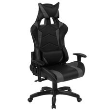 Cumberland Comfort Series High Back Black and Gray Executive Reclining Racing/Gaming Swivel Chair with Adjustable Lumbar Support