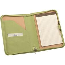 Zip Around Junior Writing Padfolio- Top Grain Nappa Leather - Key Lime Green