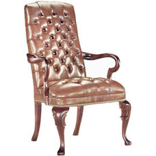 Quick Ship Traditional Series Tufted Goose Neck Arm Chair