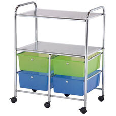 4 Drawer Chrome Frame Storage Cart with 2 Shelves - Multicolor