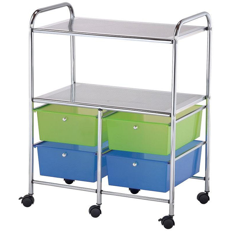 Our 4 Drawer Chrome Frame Storage Cart With 2 Shelves   Multicolor Is On  Sale Now