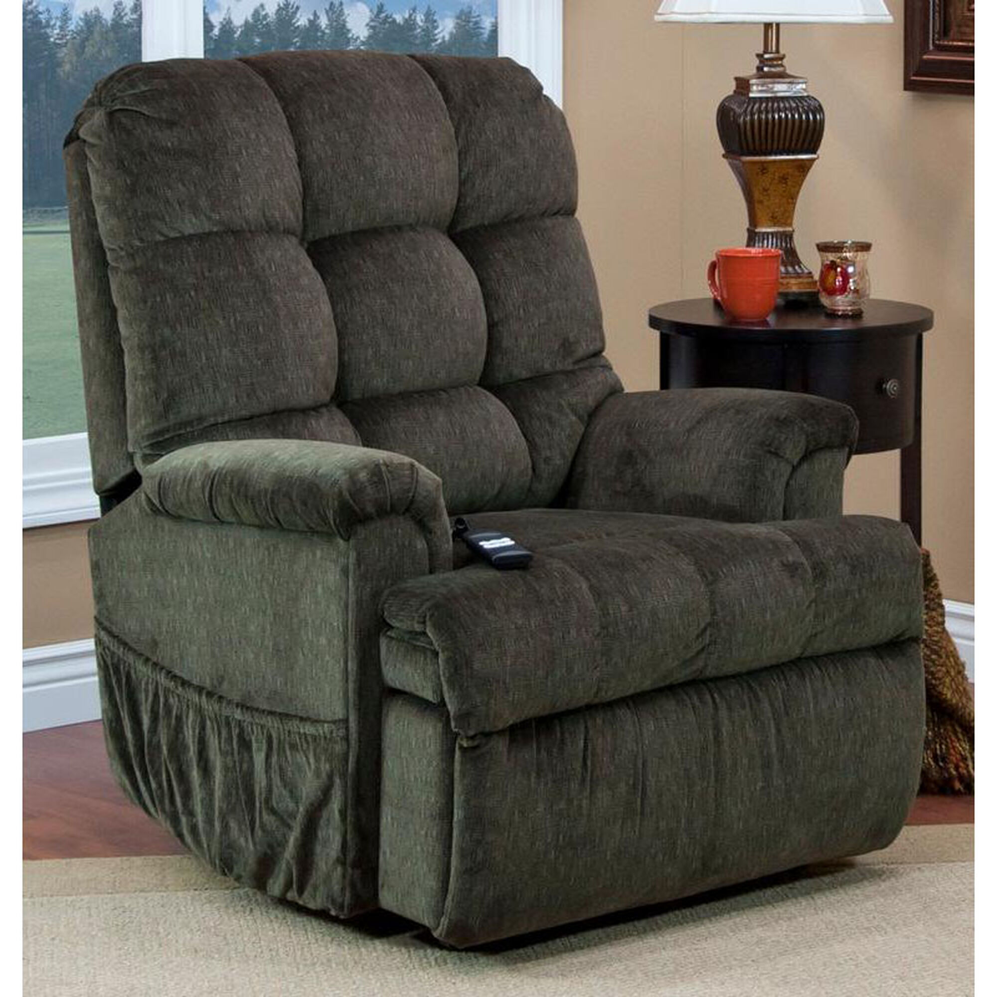 Remarkable Reclining Sleeper Power Lift Chair With Tv Position And Full Chaise Pad Cabo Sage Fabric Onthecornerstone Fun Painted Chair Ideas Images Onthecornerstoneorg