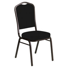 Embroidered Crown Back Banquet Chair in E-Z Wallaby Black Vinyl - Gold Vein Frame