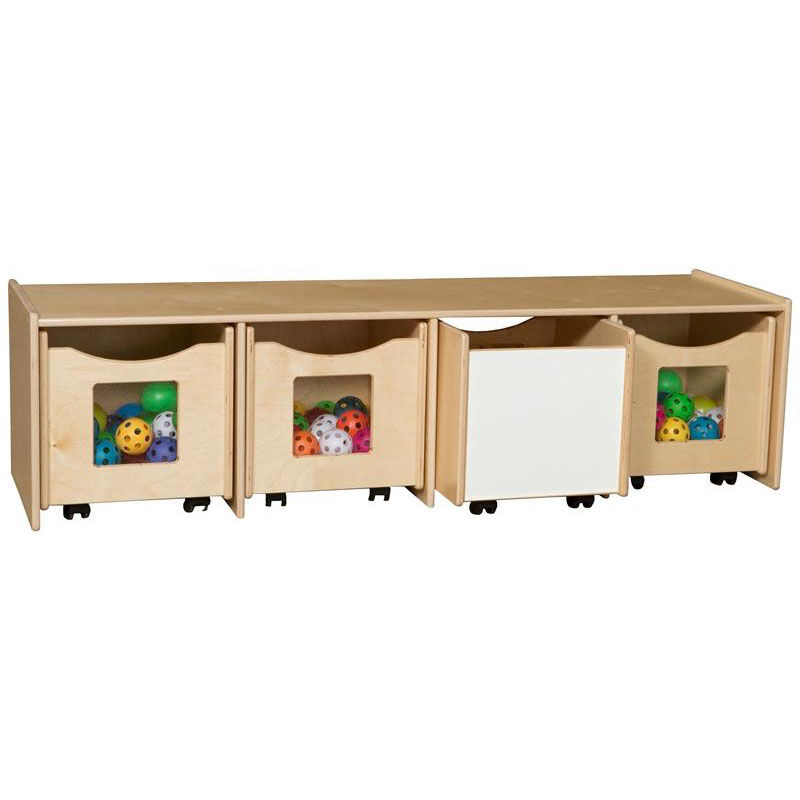 Wooden Storage Bench With 4 Rolling Storage Compartments   60