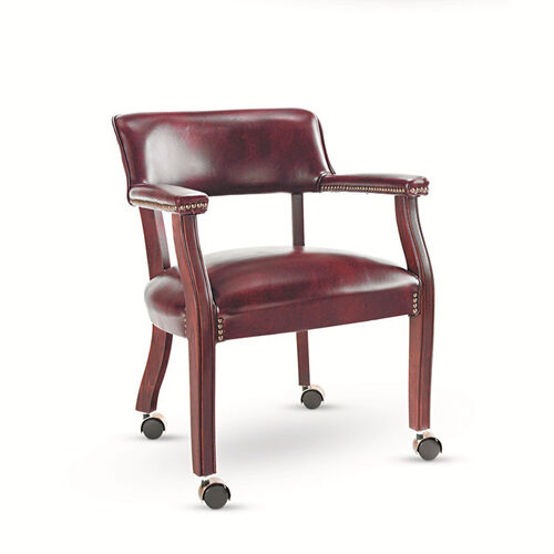 Our Alera® Traditional Series Guest Arm Chair w/Casters - Mahogany Finish/Oxblood Vinyl is on sale now.