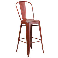 """Commercial Grade 30"""" High Distressed Kelly Red Metal Indoor-Outdoor Barstool with Back"""