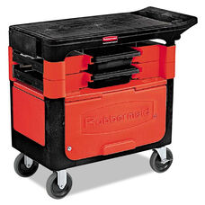 Rubbermaid® Commercial Locking Trades Cart - 330-lb Cap - Two-Shelf - 19-1/4w x 38d x 33-3/8h - Black
