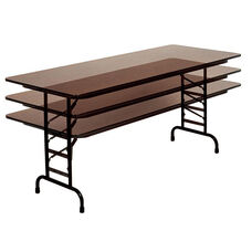 Adjustable Height Rectangular Melamine Top Folding Table - 48''D x 30''W