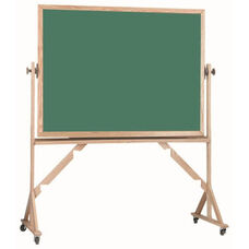 Reversible Free Standing Green Chalkboard with Red Oak Frame