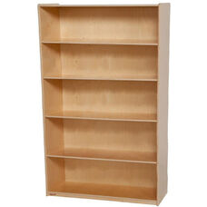 Wooden 5 Fixed Shelf Bookcase with Plywood Back - 36