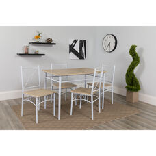 Sutton Place 5 Piece Natural Finish Dinette Set with Cross Braced Chairs