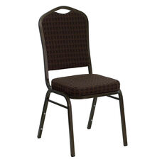 HERCULES Series Crown Back Stacking Banquet Chair in Brown Patterned Fabric - Gold Vein Frame