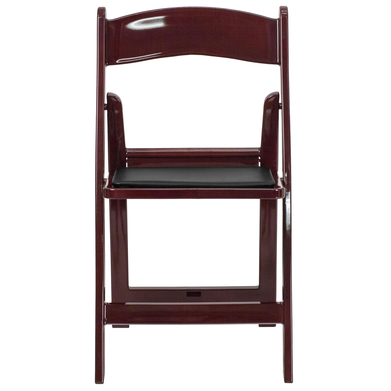 Capacity Red Mahogany Resin Folding Chair With Black Vinyl Padded