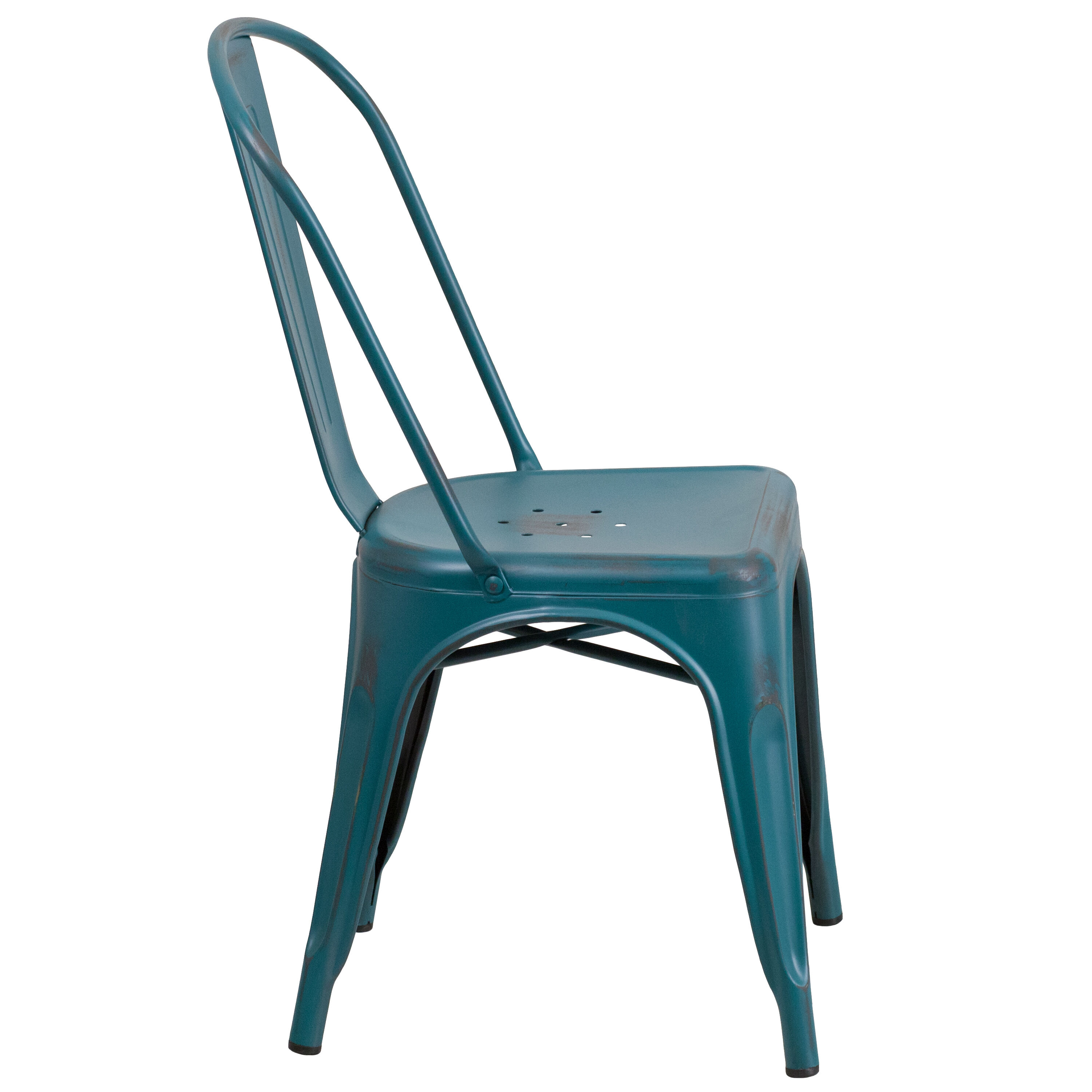 ... Our Distressed Kelly Blue Teal Metal Indoor Outdoor Stackable Chair Is  On Sale Now ...