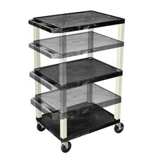 Black Adjustable Height Utility Cart with Putty Legs