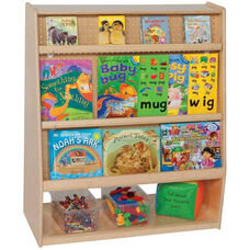 Mobile Healthy Kids Plywood Library with 2 Adjustable Front Shelves - Assembled - 36