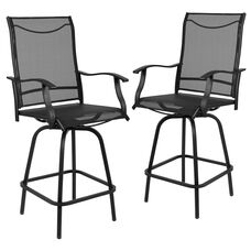 "30"" All-Weather Patio Swivel Outdoor Stools, Black, Set of 2"