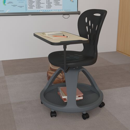Black Mobile Desk Chair with 360 Degree Tablet Rotation and Under Seat Storage Cubby