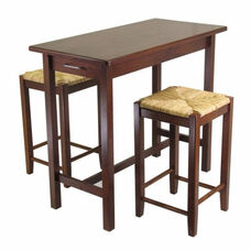 3-Pc Kitchen Island Table with 2 Rush Stools
