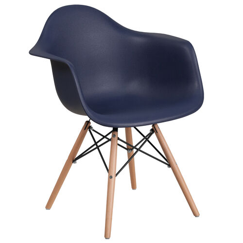 Our Alonza Series Navy Plastic Chair with Wooden Legs is on sale now.