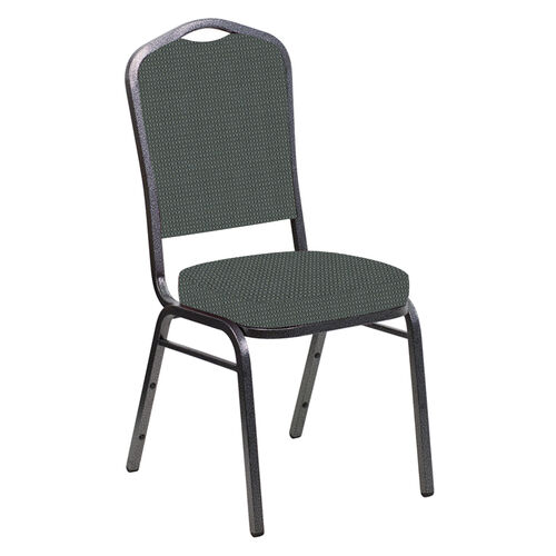 Our Embroidered Crown Back Banquet Chair in Canterbury Pewter Fabric - Silver Vein Frame is on sale now.