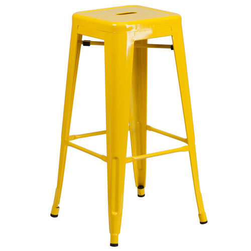 "Our Commercial Grade 30"" High Backless Yellow Metal Indoor-Outdoor Barstool with Square Seat is on sale now."